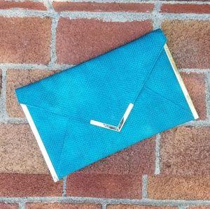 ASOS Turquoise Snake Embossed Envelope Clutch